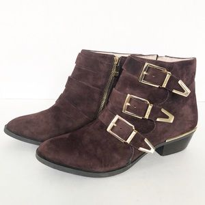 Vince Camuto Tipper Suede Buckle Ankle Booties